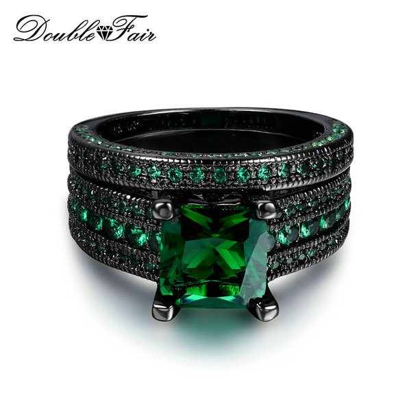Black Gold Plated Imitation Gemstone CZ Diamond Vintage Ring Set For Women & Men Christmas Green Crystal Fashion Jewelry Wholesale DFR689