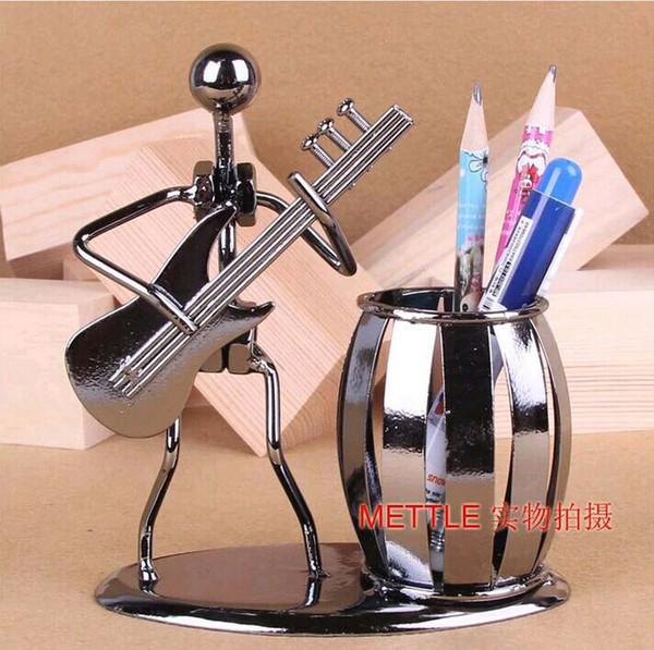 Al por mayor-Popular Creativo de metal titular de la pluma Jarrón de lápiz Pot papelería Escritorio Tidy Container papelería de oficina proveedor artesanía de regalo de negocios
