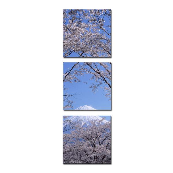 Stampa su tela Wall Art 3 pannello Pittura per la decorazione domestica Picco del monte Fuji con Cherry Blossom Sakura In cielo blu Vista dal lago Kawaguchiko