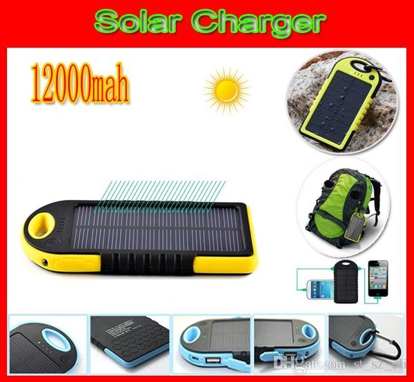 New Waterproof 12000mah Solar Charger 2-Port Shockproff Dustproof Solar Battery Charger Power Bank Flashlight 12000 Mah Solar Panel