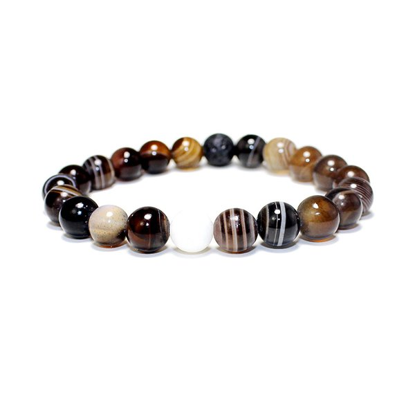 Wholesale Charm Natural Mixed Different Stone Round Shape Beads Chakra Healing Point Beaded Bracelets Jewelry Gift 8mm