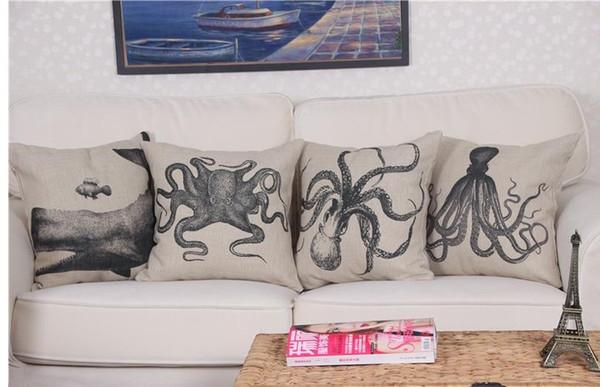 Throw Pillows Decorative Animal Octopuses Cushion Covers Retro Pillow Print  Sofa Linen Cotton Plain Cushion Covers