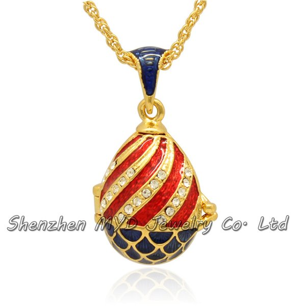 Wholesale womens jewelry findings woman high quality Faberge egg locket pendant necklace hand enameled with gold plating Crazy for colors
