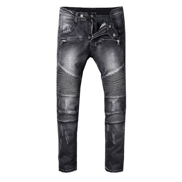 best selling SS18 Skinny Slim Fit Washed Coating material Luxury Denim Elastic Motorcycle Men BM8801 Jeans Designer Splash ink Men Jeans SZ28-40