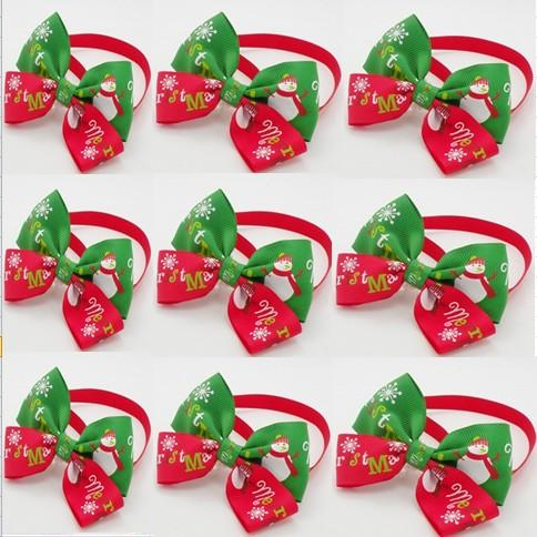 120pcs/lot Christmas Holiday Pet Puppy Dog Cat Bow Ties Cute Neckties Collar Accessories Grooming Supplies P88