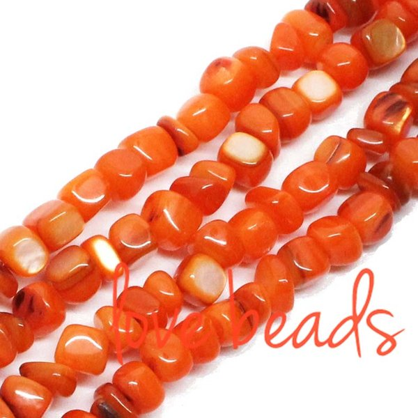 5mm-8mm Irregular Square Dark Orange Natural Shell Gravel Beads Stone Loose Beads Strand 80cm Free Shipping(F00311) wholesale