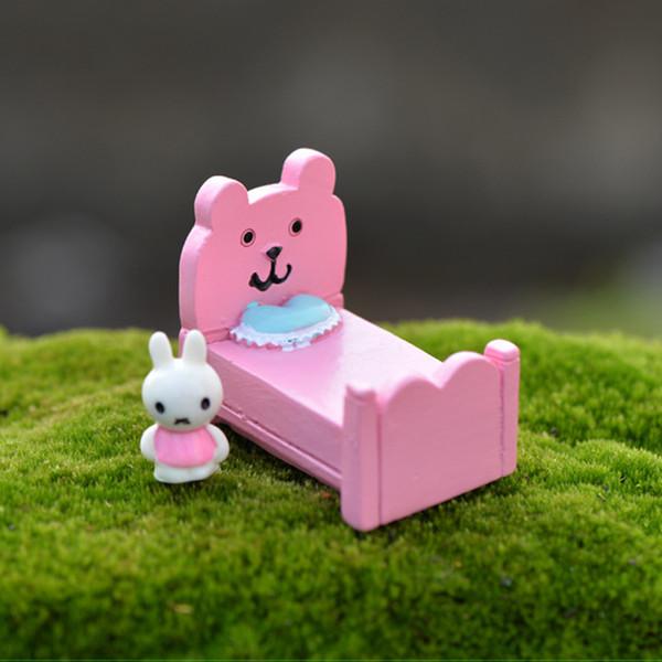 2pcs Kawaii Pink Bed Statues Resin Crafts Fairy Garden Miniatures Bonsai Tools terrarium Figurines Dollhouse Zakka Home Decor Accessories