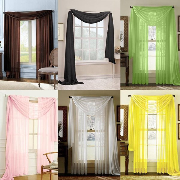 Sheer Voile Window Curtains Solid Scarf Valance Brand New Drape