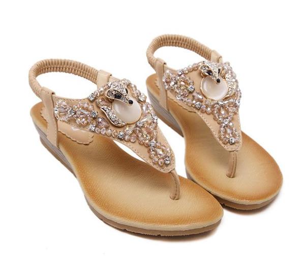 Plus Size 35 To 40 Bohemian Gem Rhinestone Sandals Women Flats Beach Shoes Soft Comfortable Handmade 2 Colors