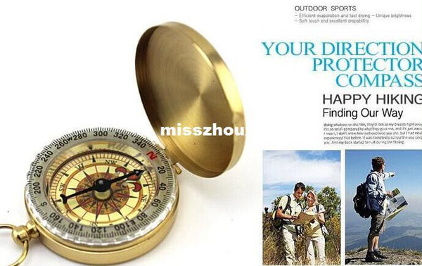 240pcs Delicate Brass Pocket Watch Style Outdoor Camping Compass wholesale Golden Classic Antique
