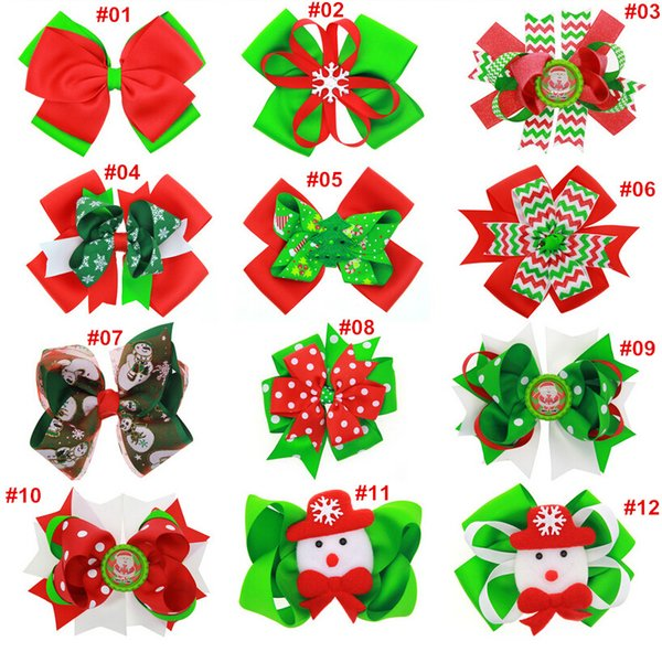 12 designs girls christmas hairpins barrettes children kids girl s xmas hair accessories princess layered bow hair