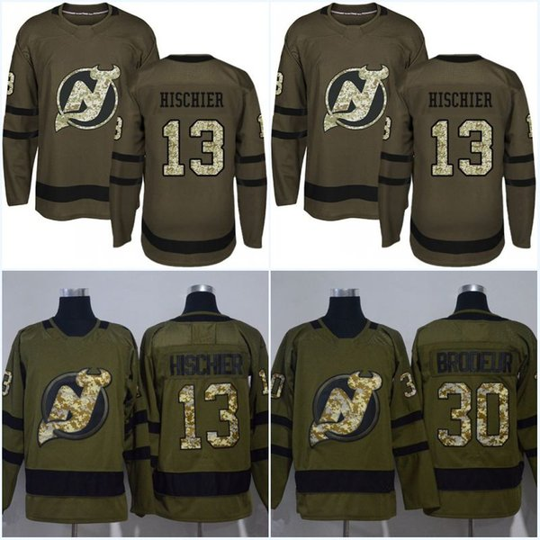 Camouflage New Logo New Jersey Devils Jersey 13 Nico Hischier 39 Brian Gibbons 30 Martin Brodeur 35 Cory Schneider Army Green Hockey Jerseys