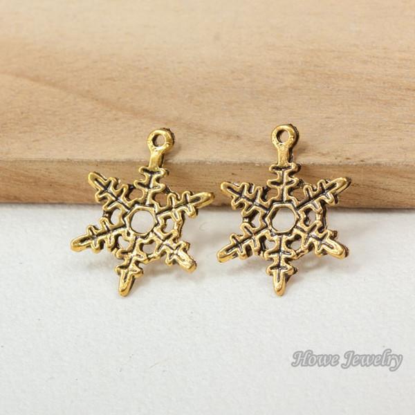 51pcs Vintage snowflake Antique Gold Fit Bracelets Necklace DIY Metal Jewelry Making R033