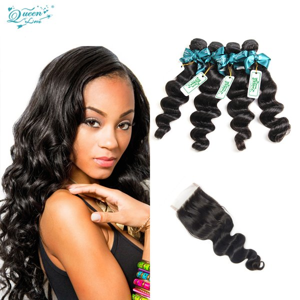 Queen Love Hair Company Brazilian Loose Wave With Closure 4 Bundles Loose Wave Virgin Hair With Closure Human Hair With Closure On Sale