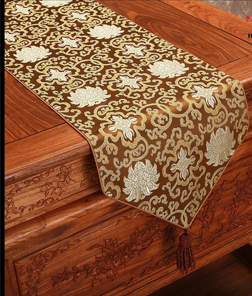 Happy Flower Long Damask Table Runners Christmas Wedding Party Table Decoration Silk Satin Tablecloth 230x 33cm