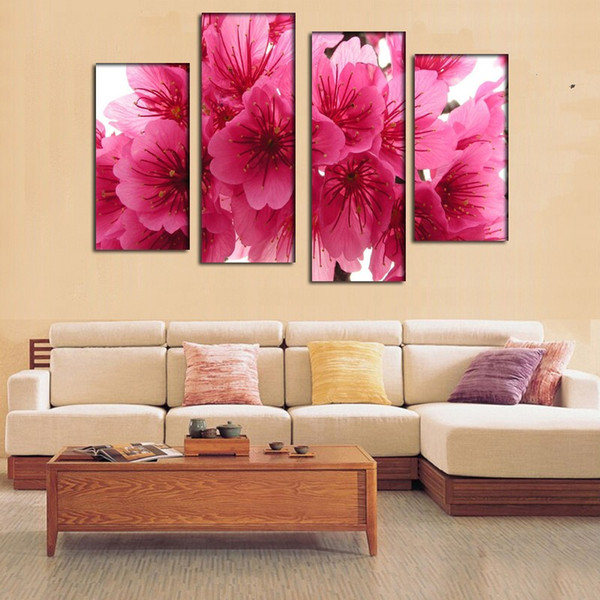 2016 New 5 Panel cherry blossom pink branch close up oil painting For home Wall Art Picture Unframed gift free shipping