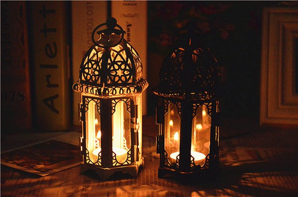 Cheap sale Black White Metal candle holders Iron lantern For Wedding Favors Gift Home Decorations Supplies