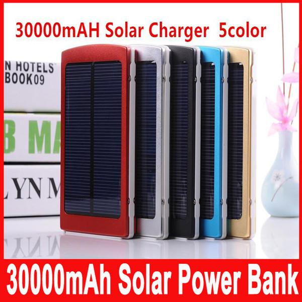 30000 mAh Güneş Enerjisi Bankası Taşınabilir Harici Pil Şarj Akıllı Telefonlar Kamp için Solar Powerbank Çift USB LED Aydınlatma