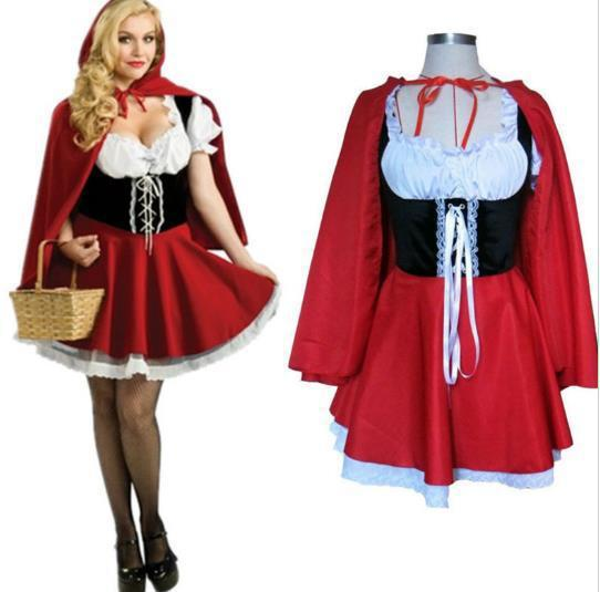 2016 new fashion halloween costume adult women fantasy costume ladies little red riding hood costumes plus