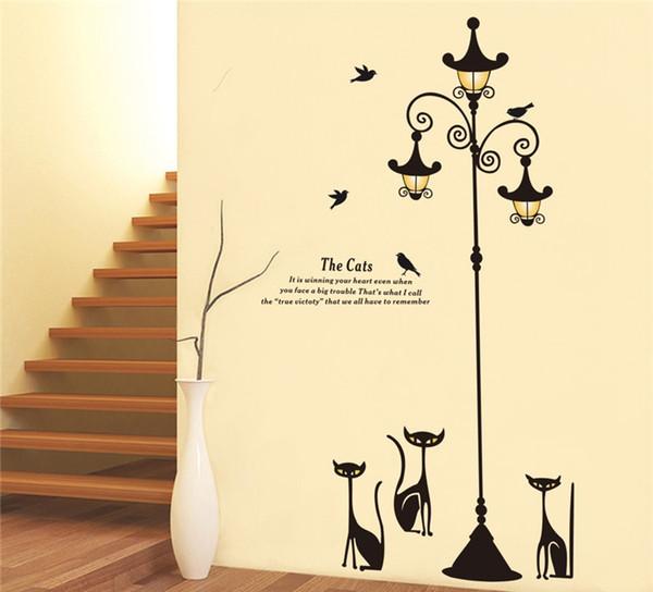 New Design Adhesive Home Decoration 3 Little Cat under Street Lamp DIY Wall Sticker Wallpaper Art Decor Mural Room Decal