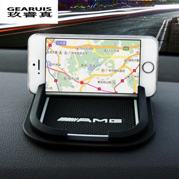 Acessórios interiores do carro Antiderrapante pad pad de navegação Almofada do telefone do carro estilo do carro AMG logotipo para Mercedes Benz GLK GLA CLA C classe