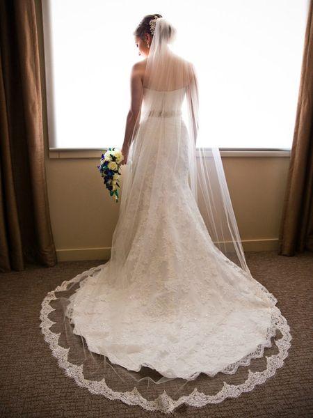 Top Quality Best Sale Chapel White Ivory Lace Applique veil Bridal Head Pieces For Wedding Dresses