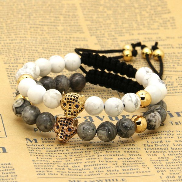New 1PCS Hot Sale 8mm Natural Stone Beads Micro Paved Blue Zircons Leopard Macrame Cz Bracelets