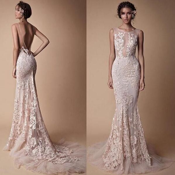 2018 Lace Applique Evening Dresses Berta Custom Mmake Sheer Neck Backless Sweep Train Women Fashion Fomral Occasion Prom Dress Cheap
