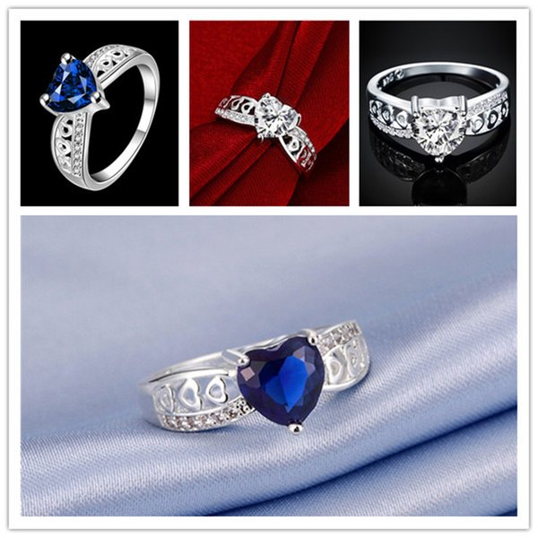 Hot sale 10 pieces fashion heart silver finger ring Brand new women's 925 silver two colors weeding gemstone Rings GTR047