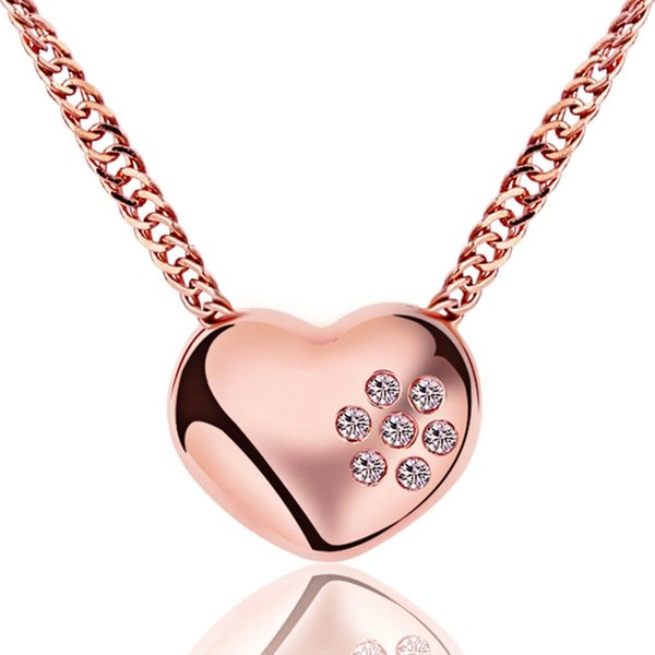 Woman necklace silver items crystal jewelry pendant statement necklaces wedding heart shaped diamond golden rose color