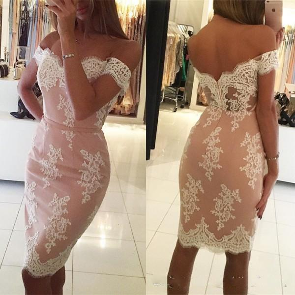 2018 Short Cocktail Dresses Lace Appliques Off the Shoulder Fitted Knee Length Custom Made Party Gowns with Sash Evening Gowns Illusion Back