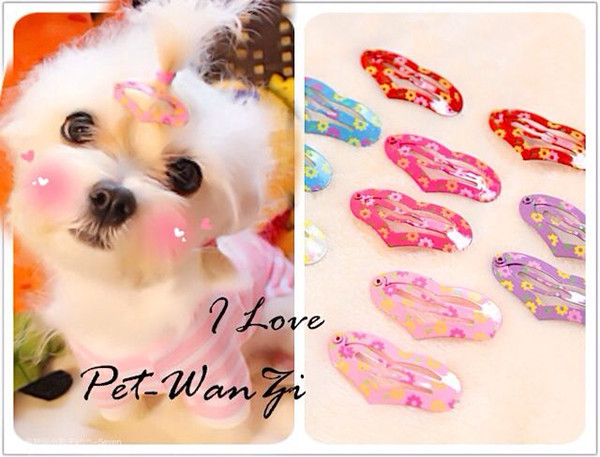 New Heart Love Small Dog Cat BB Hair Clips Yorkshire Hairpin Fashion Cute Pet Headdress Dog grooming 100pcs