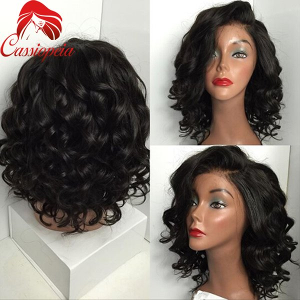 Short Deep Wave Glueless Full Lace Wigs For Black Women Unprocessed Peruvian Human Hair Deep Body Wave Full Lace Wigs in Stock