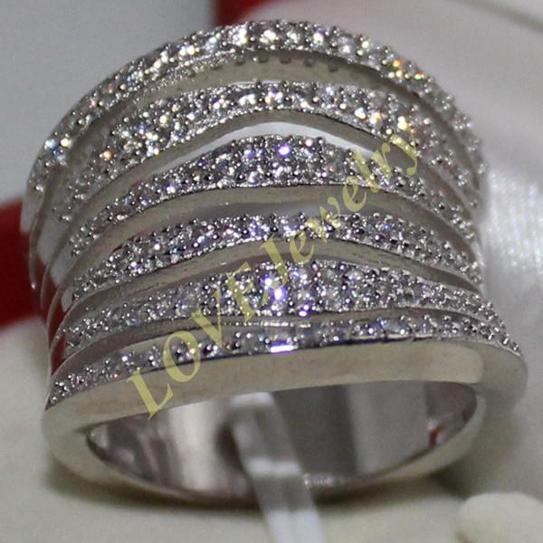 Fancy Women's 925 Solid Silver 110pcs Simulated Diamond CZ Stones Pave Set Band Ring