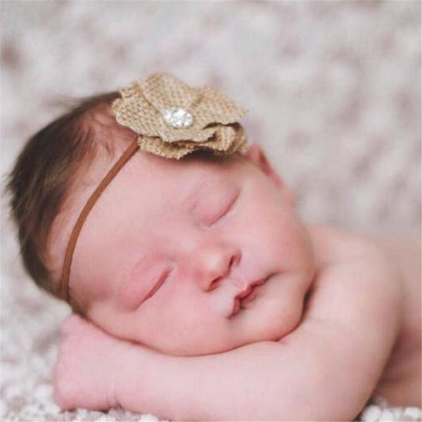 5 pezzi di lino fiore infantile fascia per capelli caffè colore ragazza hairband copricapo per bambini bambino puntelli fotografia newborn baby fasce per capelli accessori