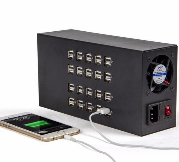 Schnelles 20 40 60 multi Hafen-USB-Tischplattenladegerät für Tablette iPad iPhone Samsung bewegliches Schwarzes US Großbritannien EU-Stecker