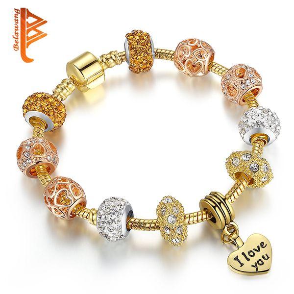 "BELAWANG Luxury ""I LOVE YOU"" Heart Charm Pendant Beads Bracelets European Style Rose Gold Charm Bracelet For Valentine's Gift Free Shipping"