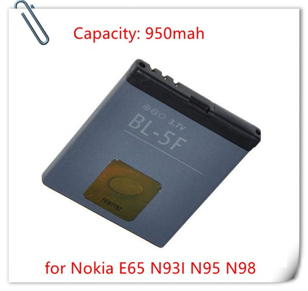 best selling 950mAh Battery BL-5F BL 5F Battery BL5F For Nokia E65 N93I N95 N98 Replacement Batterie Batterij Bateria 15 countries Free Shipping
