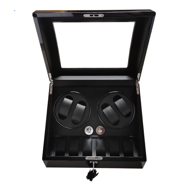 best selling Watch winder,2018 gift swiss brand watch accessories box black woodes case for 4 rotator watches 6 storage movement ratator boxes winders