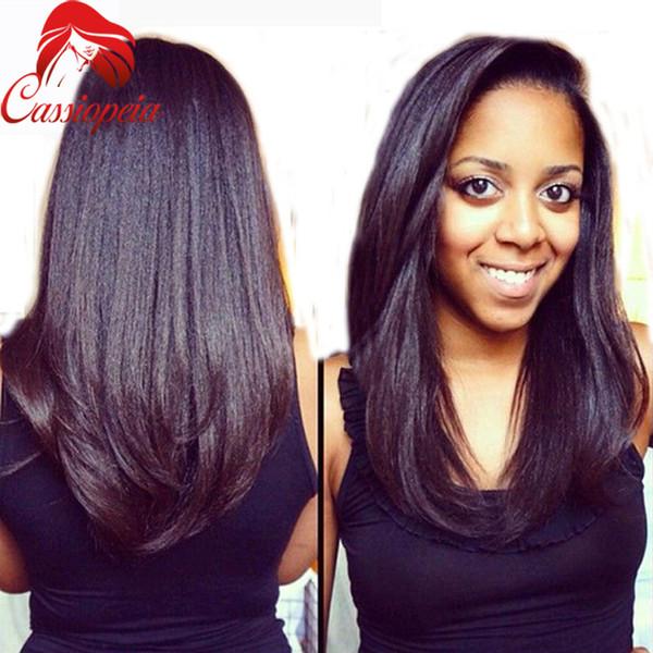 Yaki italiano U recta pelucas de la parte brasileña Virgen rizada Recta U parte de la peluca Cabello humano Para los afroamericanos Parte media U Peluca en forma de