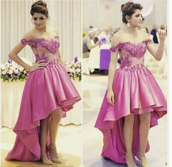Elegant Puffy High Low Prom Dresses Sexy Off The Shoulder Sweet Neck ...