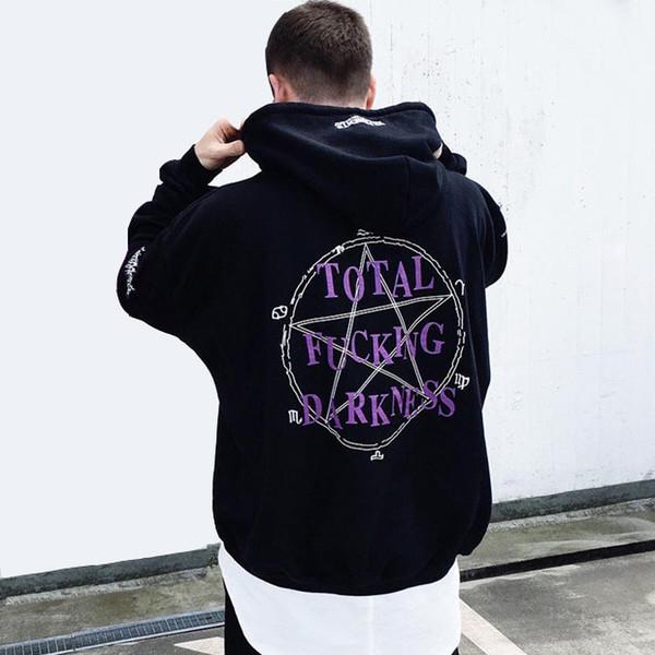 Vetements preto pentagrama hoodie das mulheres dos homens de skate gráfico hoodies oversized com capuz camisola hip hop streetwear pullover casaco yyf1125