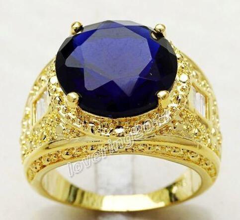 Оптовая штраф Бесплатная доставка ювелирные изделия размер 9/10/11 мужская 18K желтого золота заполнены огромный 15 карат Сапфир Diamonique кольцо с коробкой