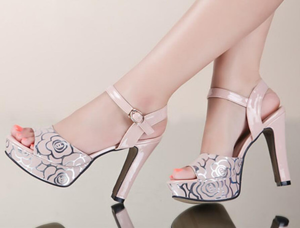 Summer new style leather high heel sandals rough toe sexy fish mouth sandals Free shipping Size 35~40
