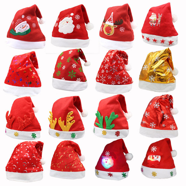 Светодиодные Рождество Hat ребенок дети взрослые партии шляпы Санта-Красный аксессуары украшения для праздника Рождественская вечеринка