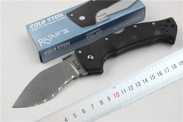 New Arrival Cold Steel RAJAH III Survival Folding Blade Knife D2 HRC60 Stone Wash Blade Outdoor Camping Knife Lock Back With Retail box