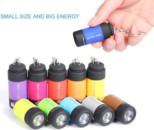 Mini 0.5W USB Wiederaufladbare COB LED Schlüsselanhänger Taschenlampe Taschenlam