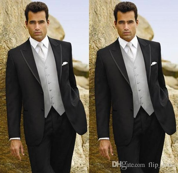 Silver Black 2015 Groom Tuxedos Three Piece Two Buttons Notch Lapel Waistcoat wedding Prom Suits Groomsman Bridesman Clothing Formal Suit