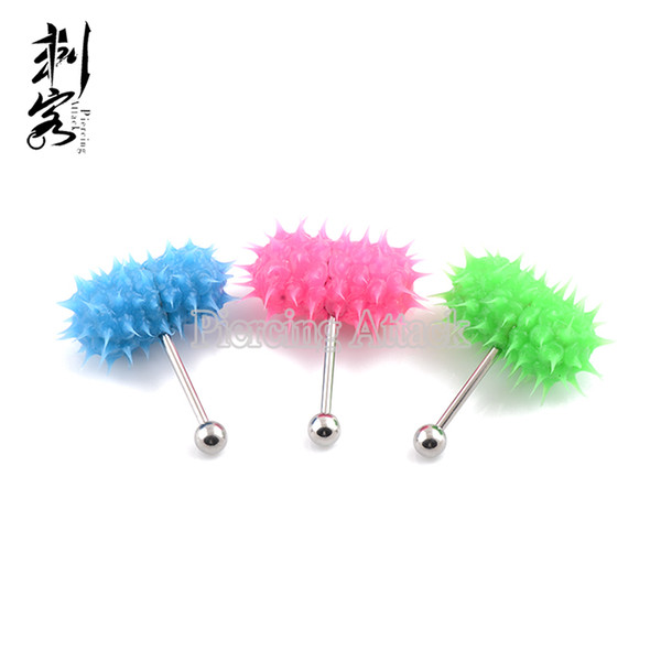 Free Shipping Mixed Colors Fluorescent Vibrating Tongue Rings New Style Vibrating Barbell Body Jewelry Free Shipping