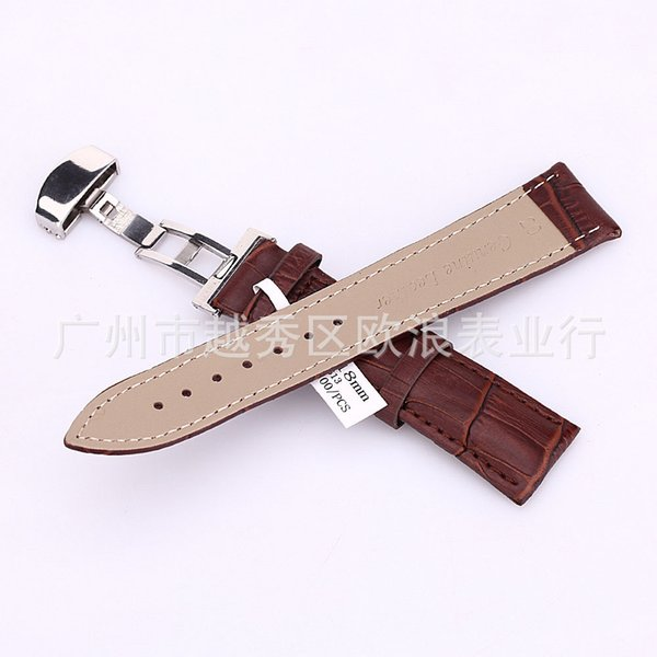 Wholesale-18-24mm Watch Band Strap Butterfly Pattern Deployant Clasp Buckle+ Leather